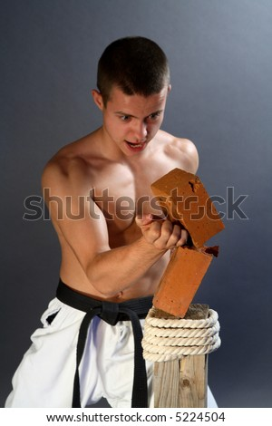 Young sporty karate man breaking a brick on gray background - stock photo