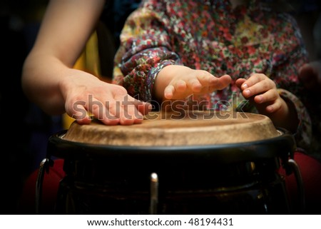 young student at drum class - stock photo