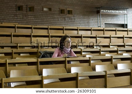 young student at the university during exam - stock photo