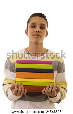 young student carrying a lot of colorful school books - stock photo