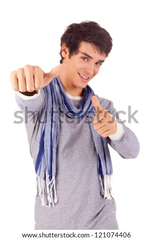 Young student expressing positivity - isolated over white - stock photo