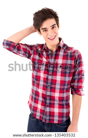Young student expressing positivity - Thumbs Up - stock photo