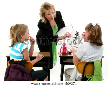 Young student getting caught drawing mean pictures of her teacher.  Shot in studio over white. - stock photo