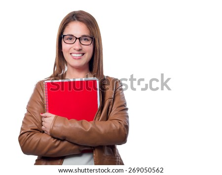 young student girl with a notebook in her hands isolated on white background - stock photo