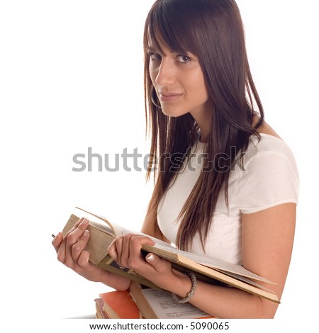 Young student girl with books on white backgrounds