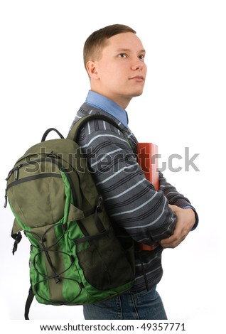 Young student isolated on a white background