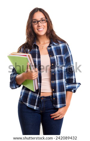 Young student posing over a white background - stock photo