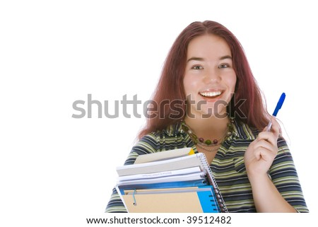 Young student standing with a stack of books isolated over white - stock photo