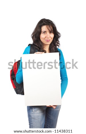 Young student woman with a backpack and holding the blank card on white background