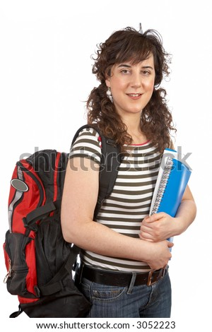 Young student woman with a black backpack on white background