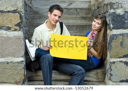 Young students are learning together. - stock photo