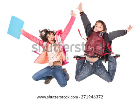 Young students couple  jumping isolated in white - stock photo