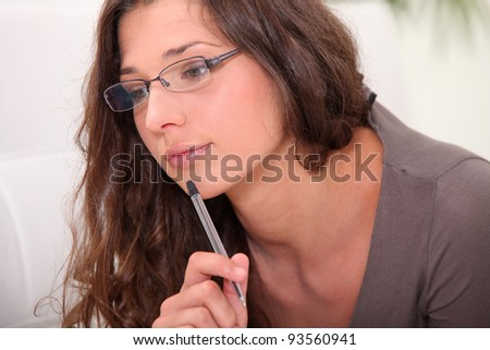 young students studying at home - stock photo