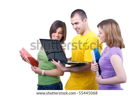young students with books and laptop on white background