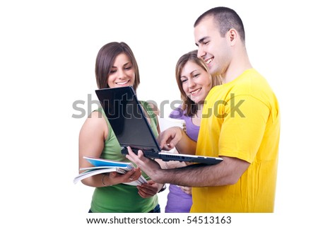 young students with books looking to  laptop