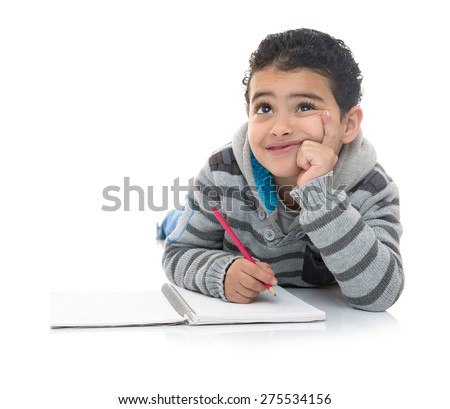 Young Studying Boy Thinking for Answer Isolated on White Background - stock photo