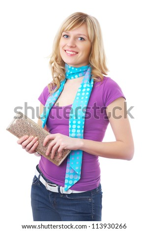 Young stylish blonde girl posing on a white background - stock photo