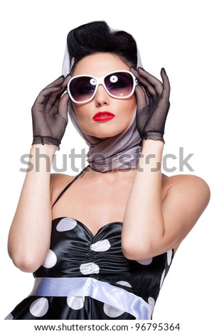 young stylish caucasian woman posing, isolated over white, retro styling