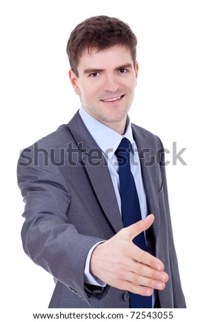 Young successful business man waiting for handshake, isolated on white - stock photo