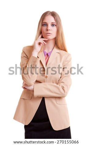 Young successful businesswoman isolated on white background. Young businessperson. Young and succesfful. Beautiful person. Studio shooting - stock photo