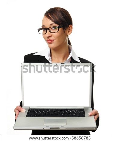 Young successful career woman holds her laptop open, copyspace provided on screen - stock photo