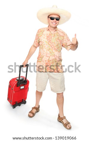 Young successful man going to holidays. - stock photo