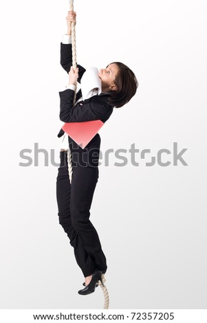 Young successful office worker on the rope with papers