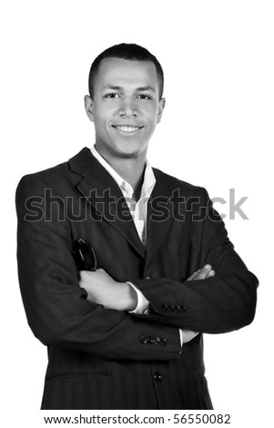 Young successful student on a white background. black-and-white - stock photo