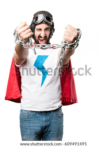 young super hero with a steel chain