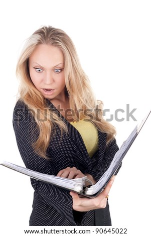 young surprised blond businesswoman with the folder in her hands