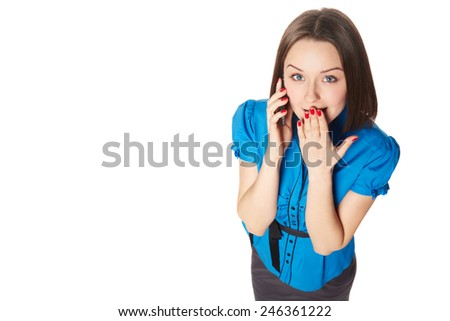 Young surprised businesswoman call phone - stock photo