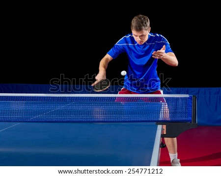 Young table tennis player isolated - stock photo