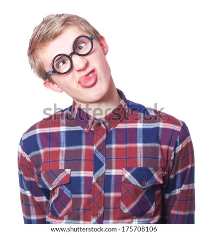 Young teen boy in nerd glasses. Isolated on white.