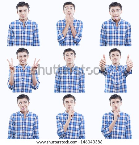 young teen face expressions composite isolated on white background - stock photo