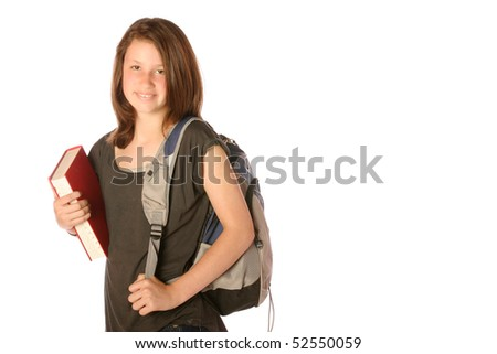 Young teen with backpack and book