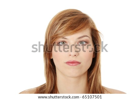 Young teen woman making squint, isolated on white - stock photo