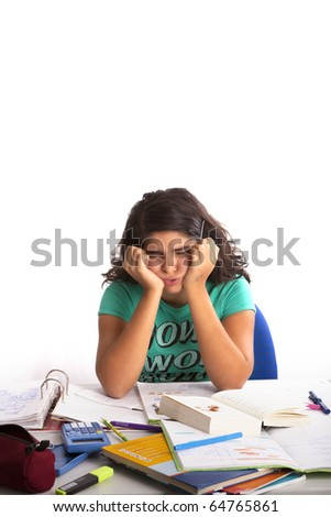 Young teenage desperate about school or Homework - stock photo