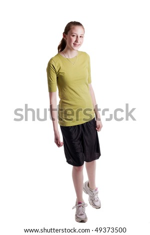 young teenage girl walking, isolated on white
