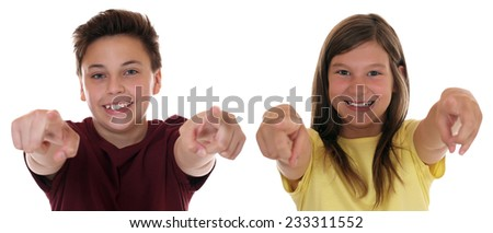 Young teenager or children pointing with finger I want you, isolated on a white background - stock photo