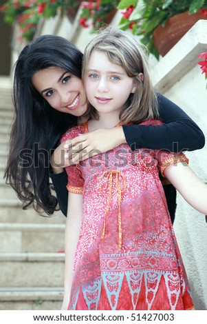 Young Teenagers - Blonde and Brunette - stock photo