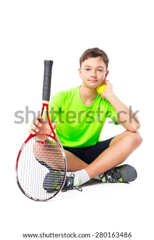 Young tennis player isolated
