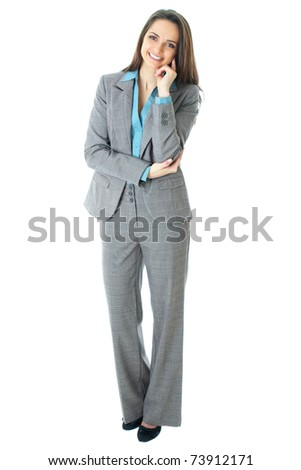 young thoughtful businesswoman in grey suit and blue shirt, isolated on white - stock photo