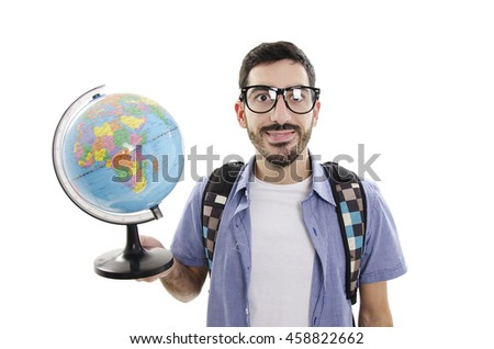 Young traveler with globe. Isolated on a white background