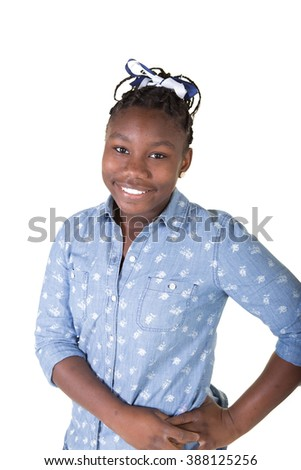 Young tween isolated on white - stock photo