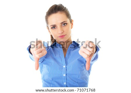 young unhappy and disappointed female shows thumbs down gesture, isolated on white - stock photo