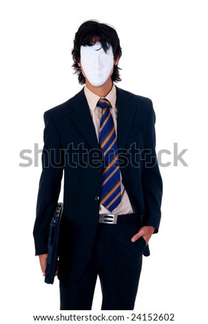 Young unknown successful businessman wearing Halloween mask.  studio shot, white background