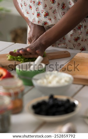 Young Unrecognizable African Woman Cooking. Healthy Food - Vegetable Salad. Diet. Dieting Concept. Healthy Lifestyle. Cooking At Home. Prepare Food - stock photo