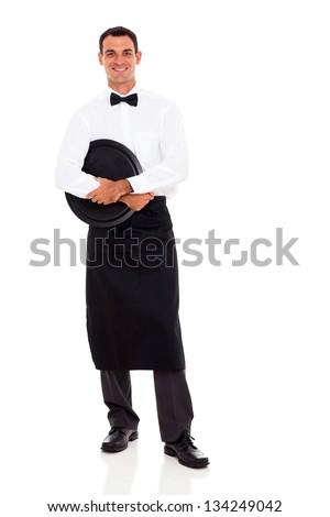 young waiter full length portrait on white - stock photo
