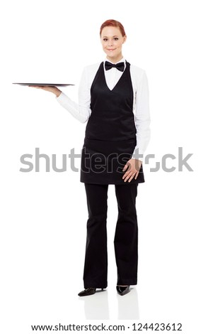 young waitress holding a empty tray isolated on white - stock photo