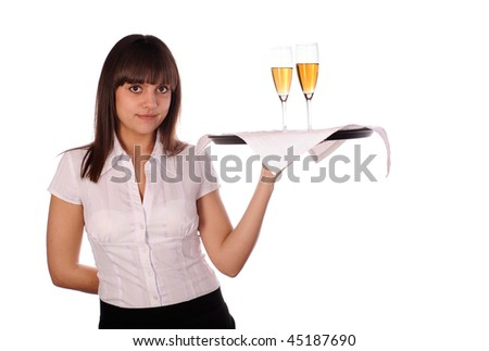 young waitress with two glasses of wine. isolated on white - stock photo